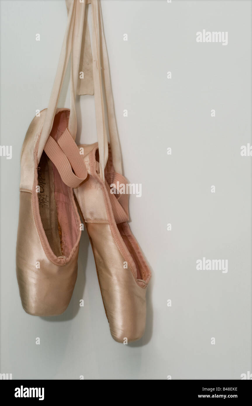 Worn and well used Ballet shoes Stock
