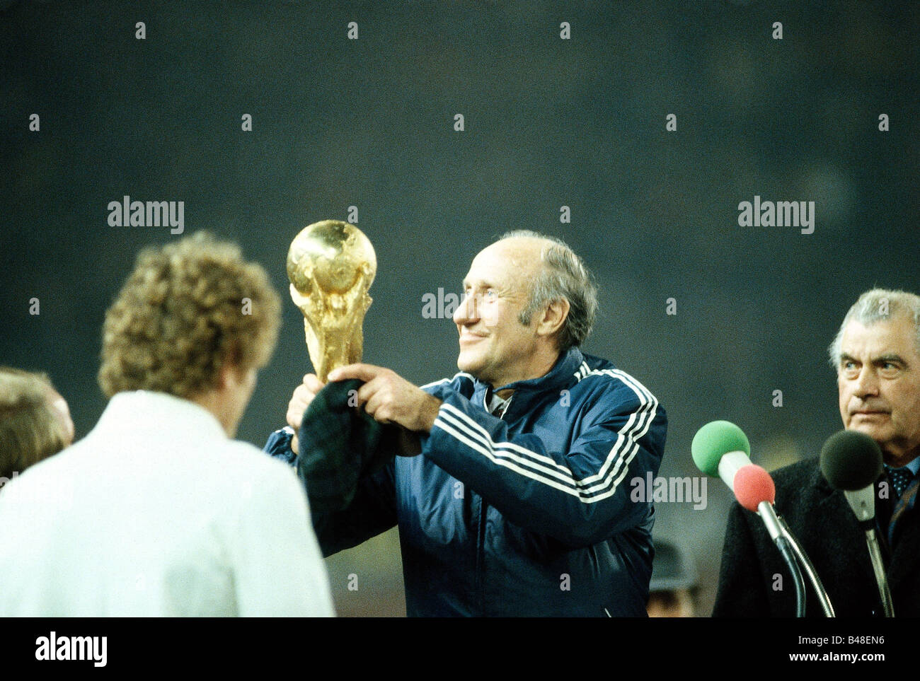 Saying goodbye to sports historically stretching soccer, football, international match Germany against Hungary in - Stock Image
