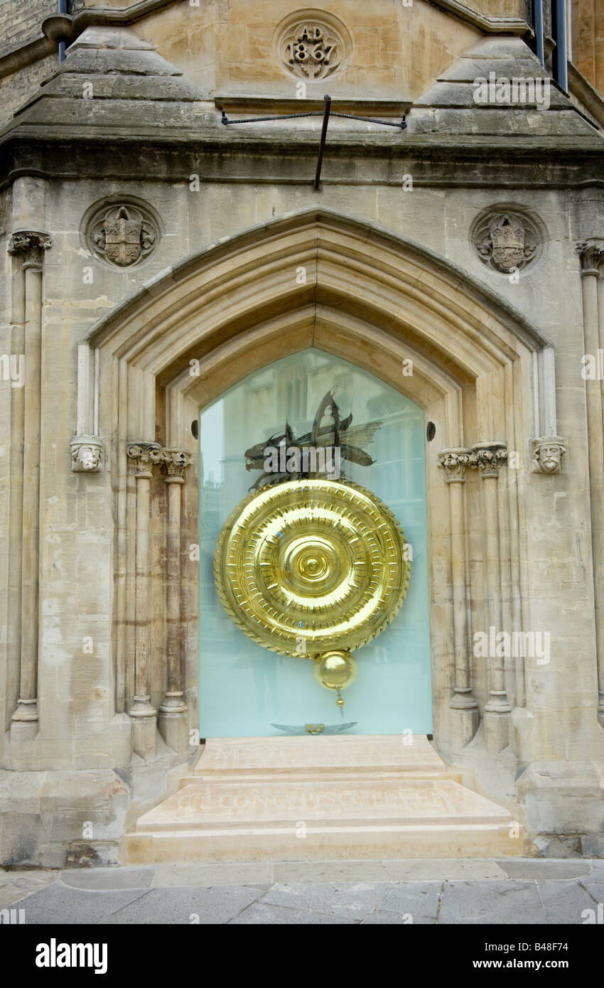 the new Grasshopper or Corpus Christi Clock, Kings Parade, cambridge UK Stock Photo
