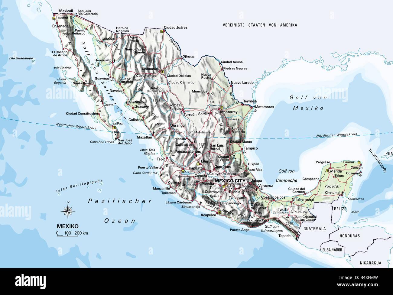 Pacific Mexico Map.Cartography Maps America Mexico Circa 2000 Stock Photo 19856953