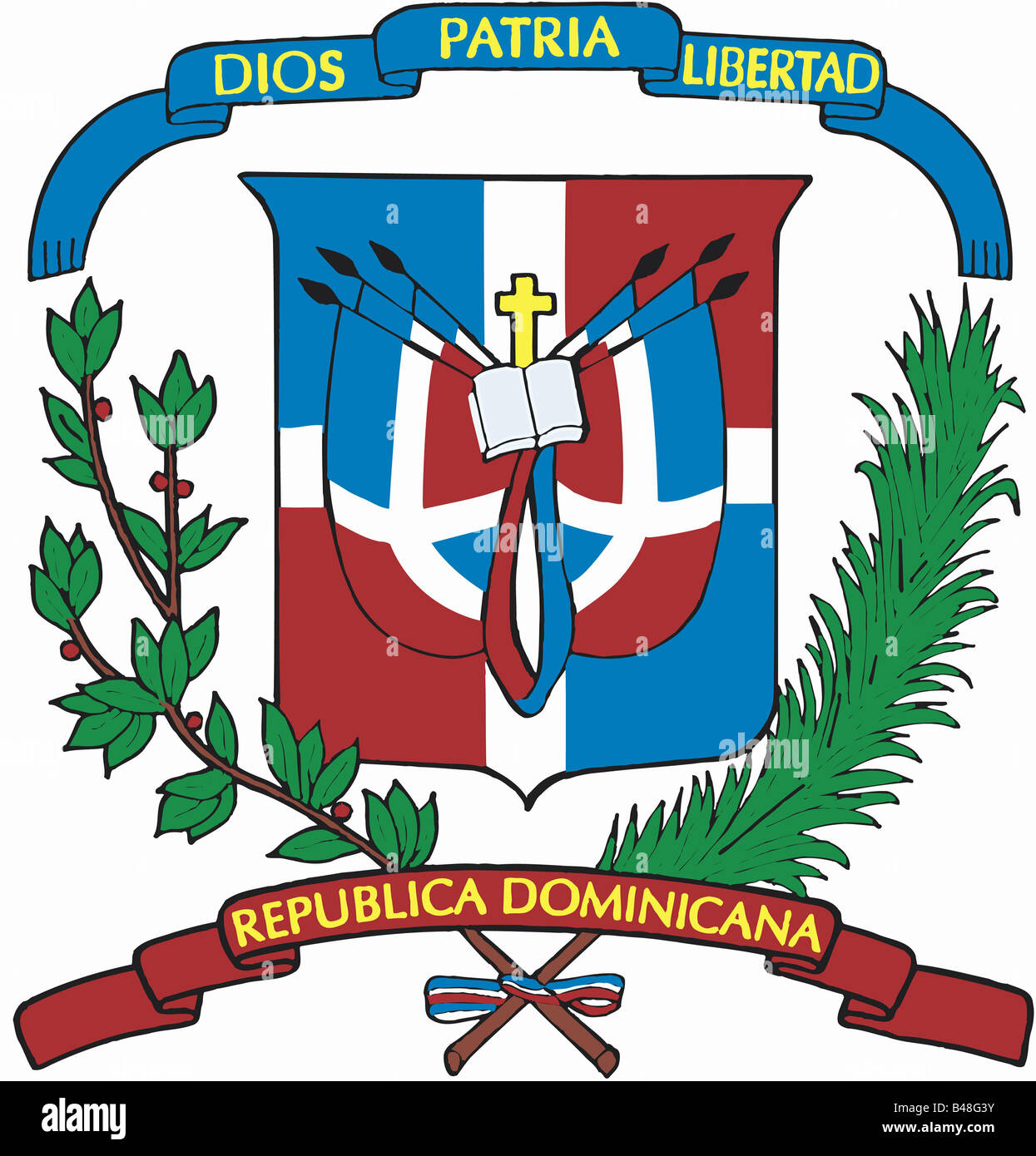 Heraldry Emblem Dominican Republic National Coat Of Arms Stock