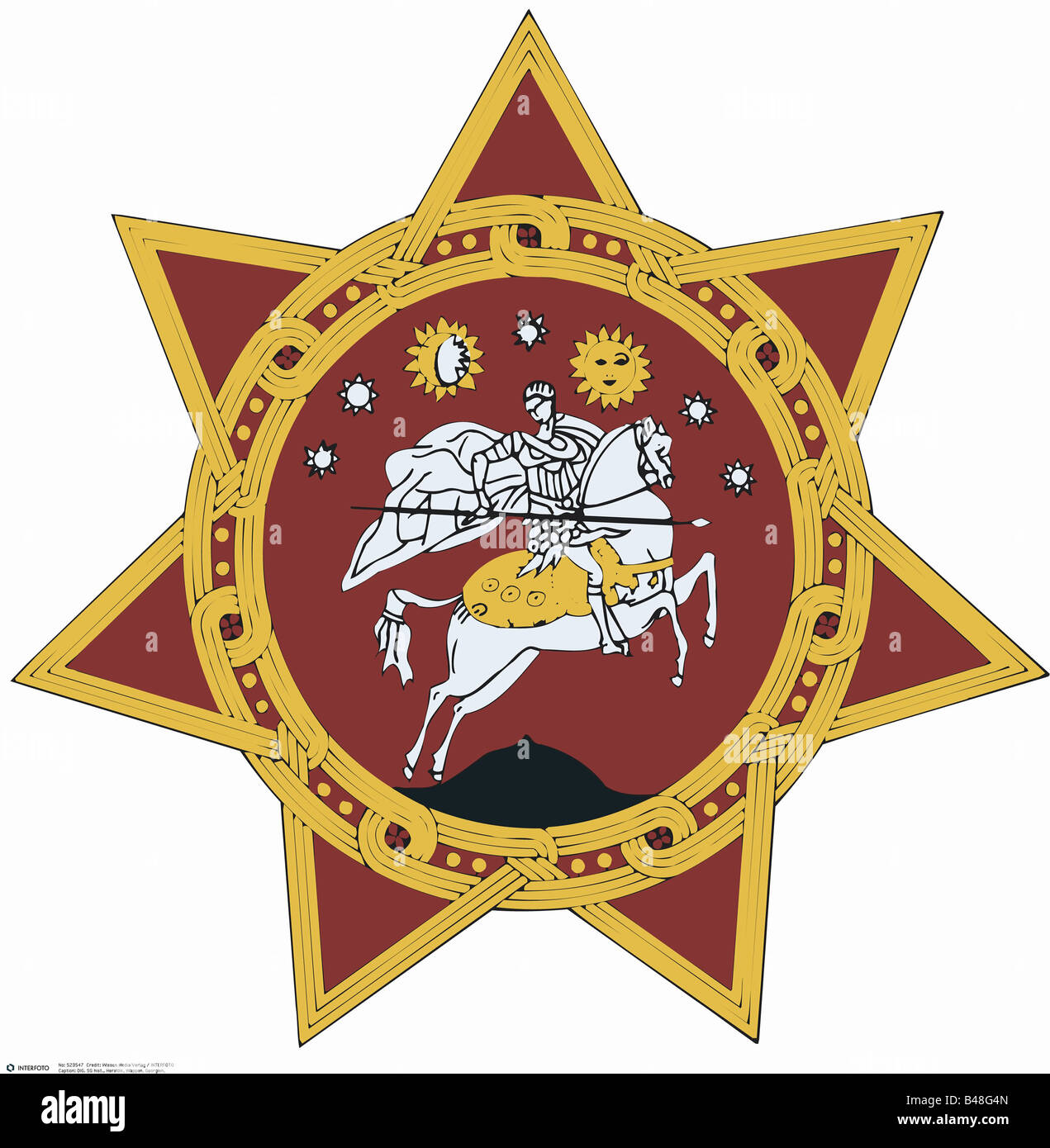 heraldry, coat of arms, Georgia, national coat of arms (1990 - 2004) symbol, emblem, crest, Asia, geography, Georgian Stock Photo