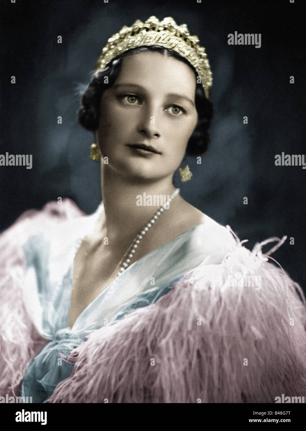 Astrid, 17.11.1905 - 29.8.1935, Queen Consort of Belgium  10.11.1926 - 29.8.1935, portrait, late 1920s, later coloured, - Stock Image