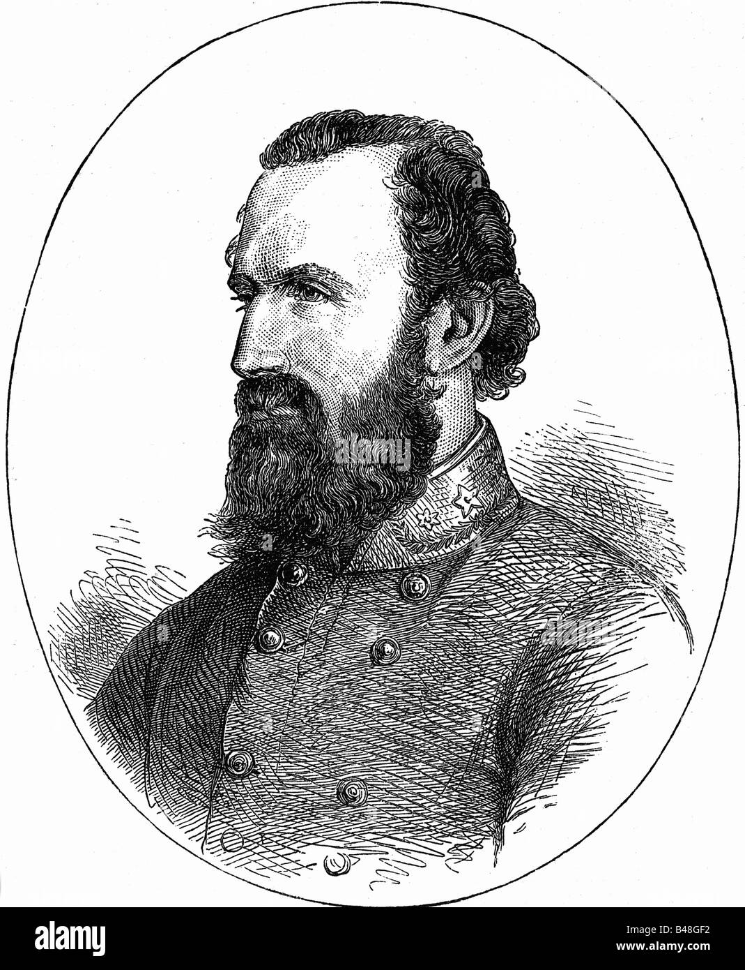 Jackson, Thomas 'Stonewall', 21.1.1824 - 10.5.1863, American General, portrait, wood engraving, 19th century, - Stock Image
