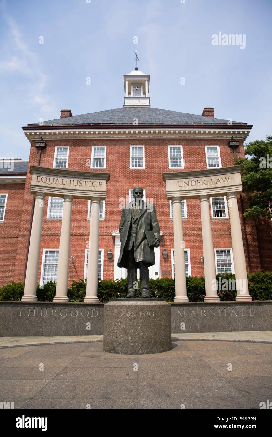 Thurgood Marshall Memorial Statue at Lawyers Mall Annapolis Maryland USA - Stock Image