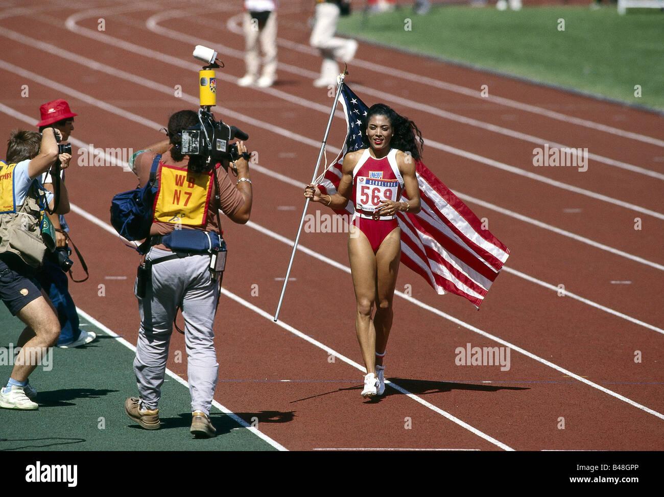 Griffith-Joyner, Florence, 21.12.1959 - 21.9.1998, American athlete (athletics), full length, Olympic Games, Seoul, - Stock Image