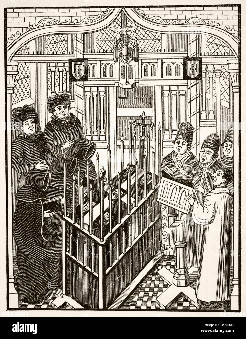 Fifteenth century funeral ceremony for an important person - Stock Image