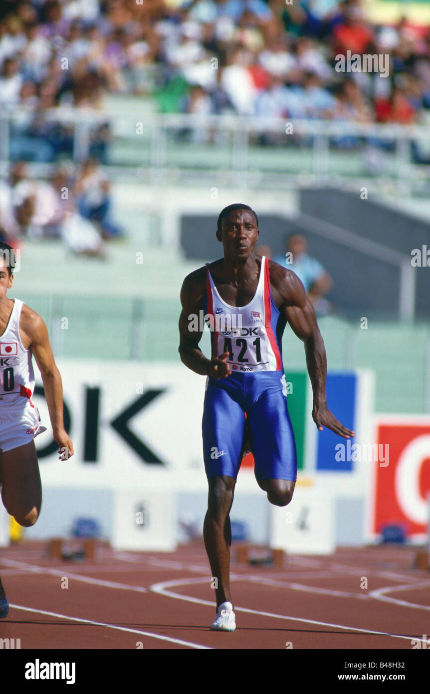 Christie, Linford, * 2.4.1960, full length, world championship, Rom, 1987, Additional-Rights-Clearances-NA - Stock Image