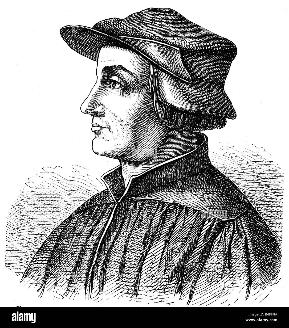 Zwingli, Ulrich, 1.1.1484 - 11.10.1531, Swiss religious reformer, engraving,  , Additional-Rights-Clearances-NA - Stock Image
