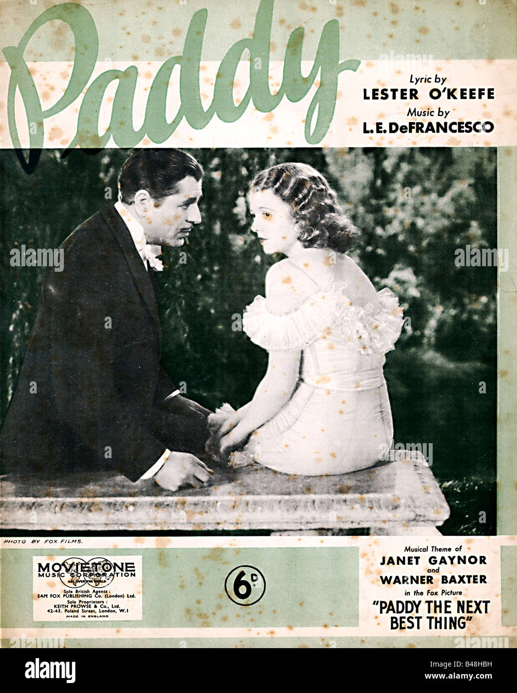 Paddy music sheet cover for the title song of the 1933 movie Paddy The Next Best Thing Stock Photo