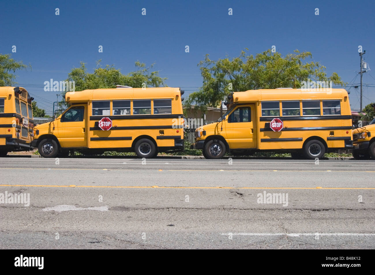 Yellow school buses parked on the street - Stock Image