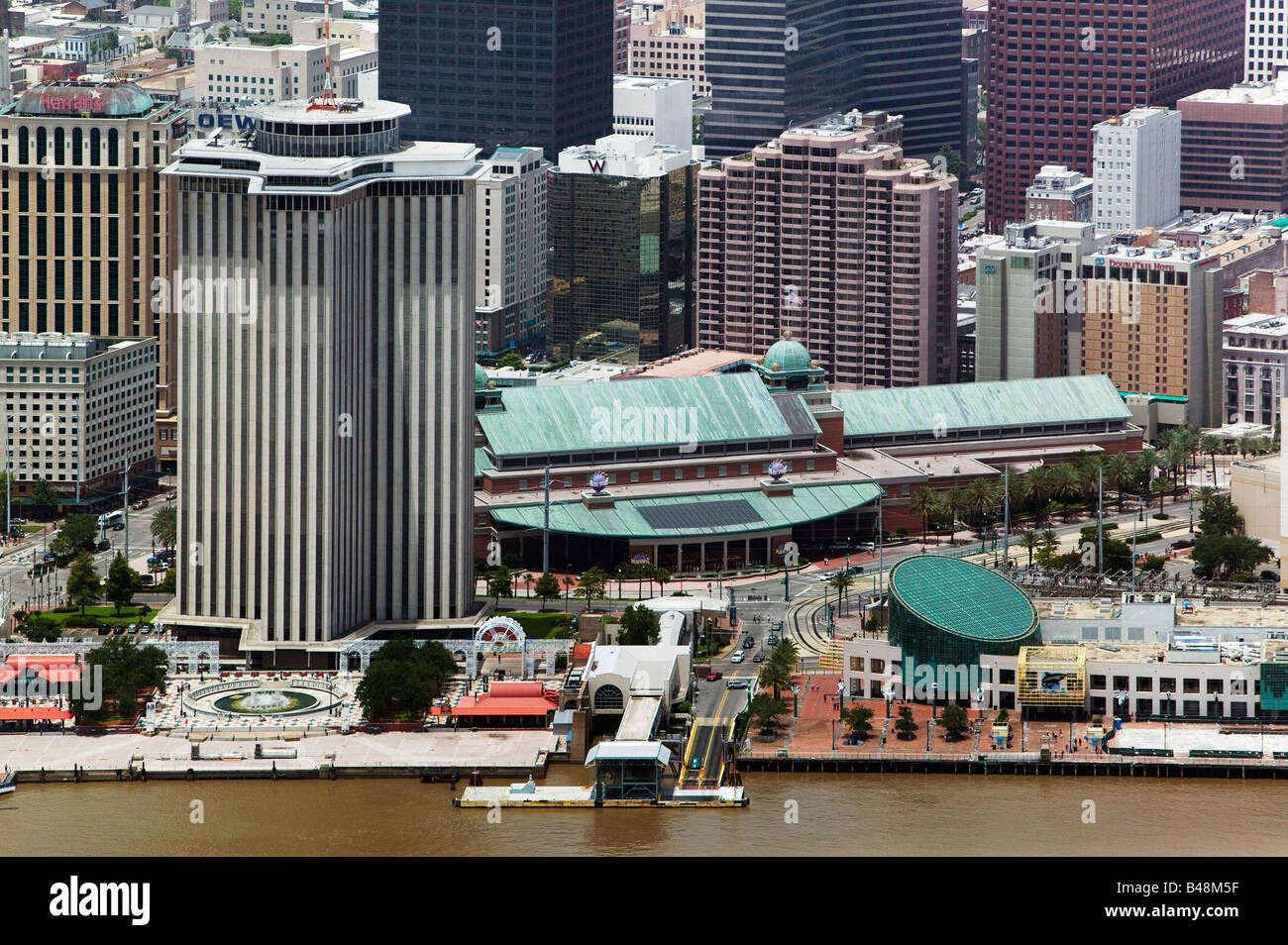 aerial above New Orleans Louisiana Mississippi river waterfront - Stock Image