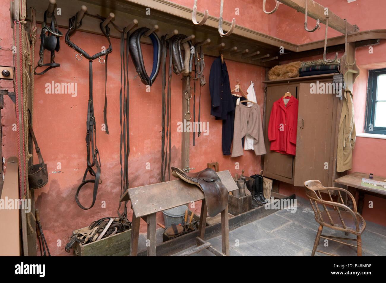 The restored TACK ROOM at Llanerchaeron Hall Farm and Gardens  Wales UK - Stock Image