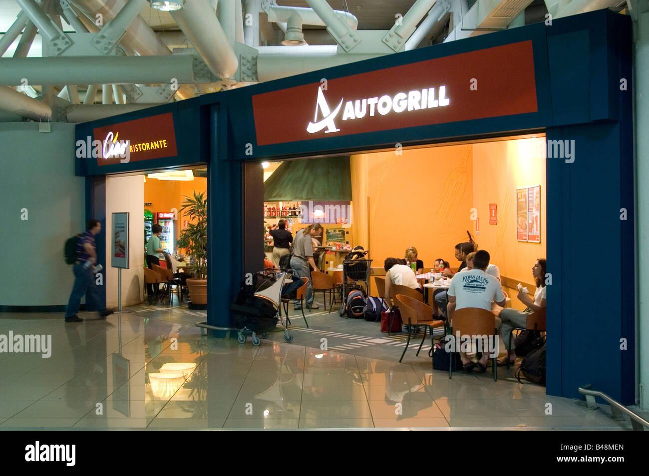 Auto grill in the departure concourse at Fiumicino Leonardo di Vinci  Airport Rome Italy - Stock Image