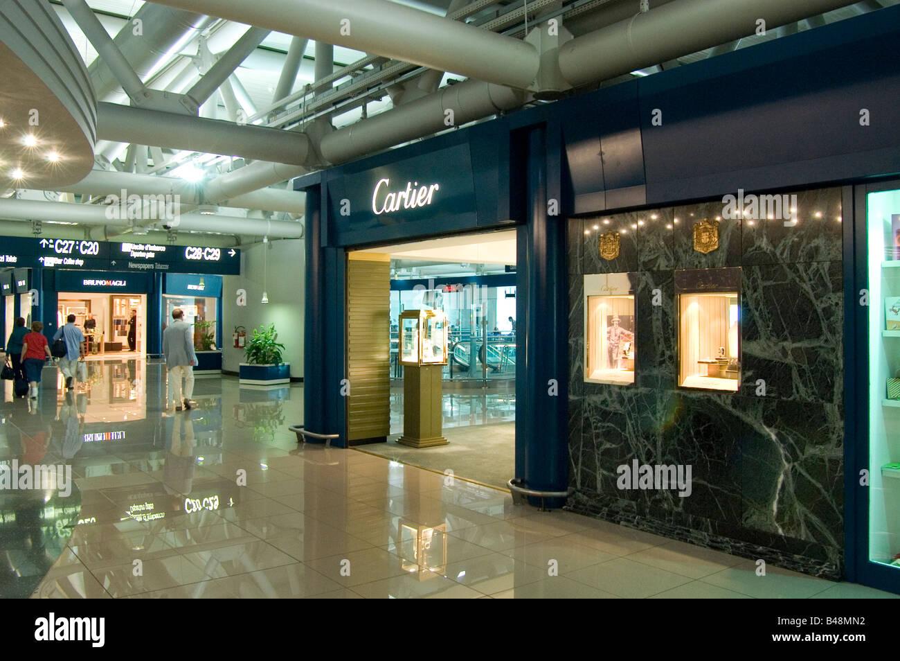 high end shops in Fiumicino Leonardo di Vinci Airport Rome Italy - Stock Image