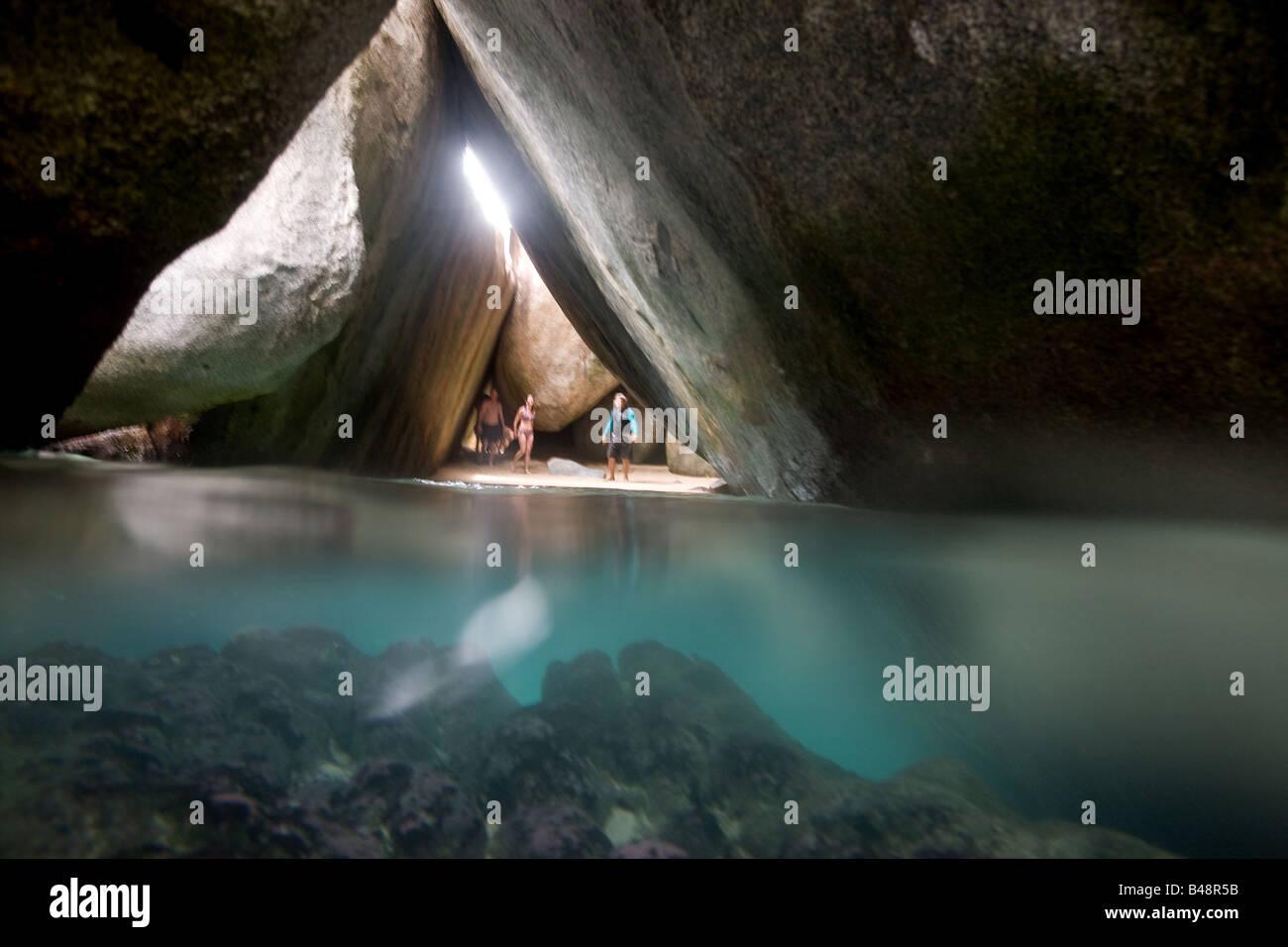 Inside of 'The Baths' on Virgin Gorda, British Virgin Islands - Stock Image