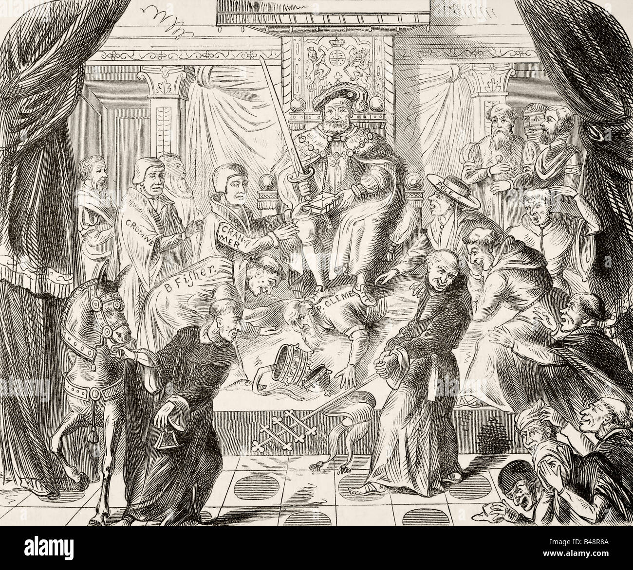 Allegorical picture of King Henry VIII of England trampling on Pope Clement VII - Stock Image
