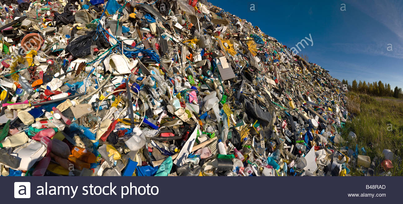 panoramic pile plastic garbage household goods recycling nature plastic pile sorted plastic waste garbage pile - Stock Image