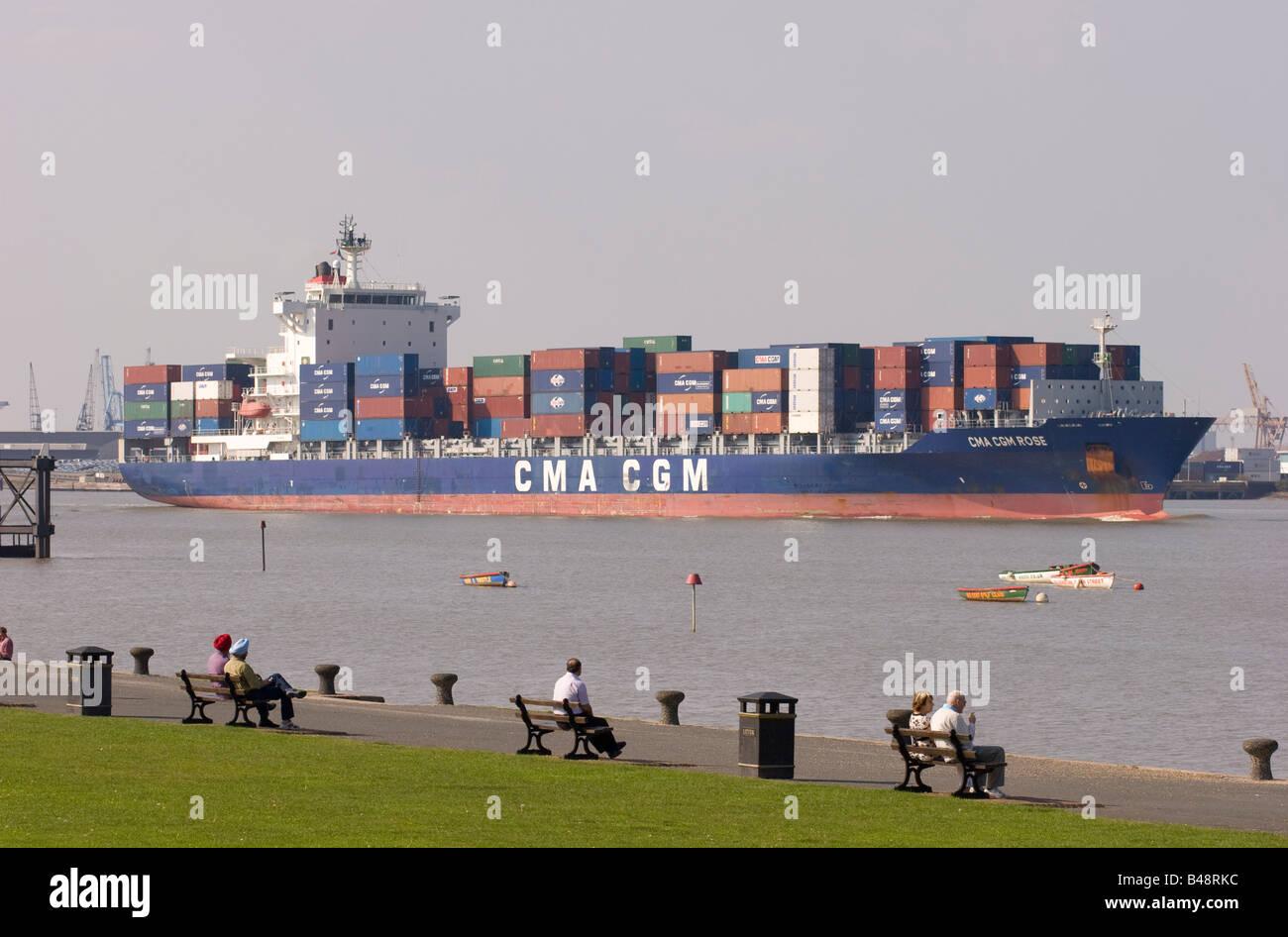 CMA CGM Rose Monrovia container ship sailing down the Thames Estuary at Gravesend - Stock Image