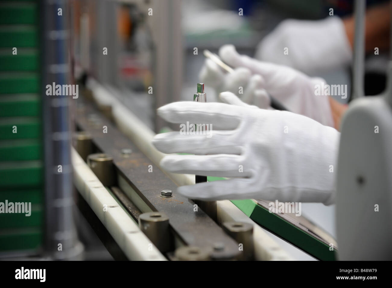 Parker Pen factory in Newhaven, Sussex, UK. the assembly line of the famous pen brand as it celebrated 120 years - Stock Image