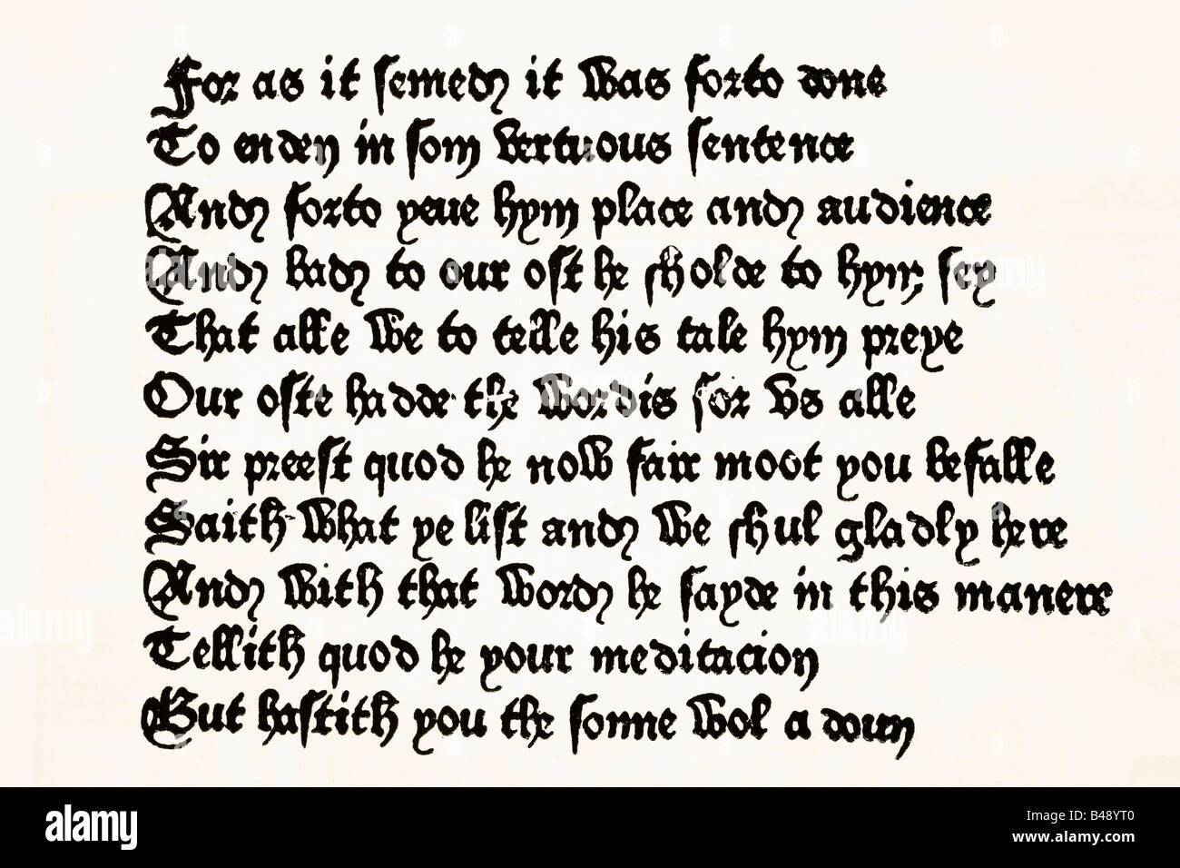 Page of The Canterbury Tales printed by William Caxton in 1476. Stock Photo