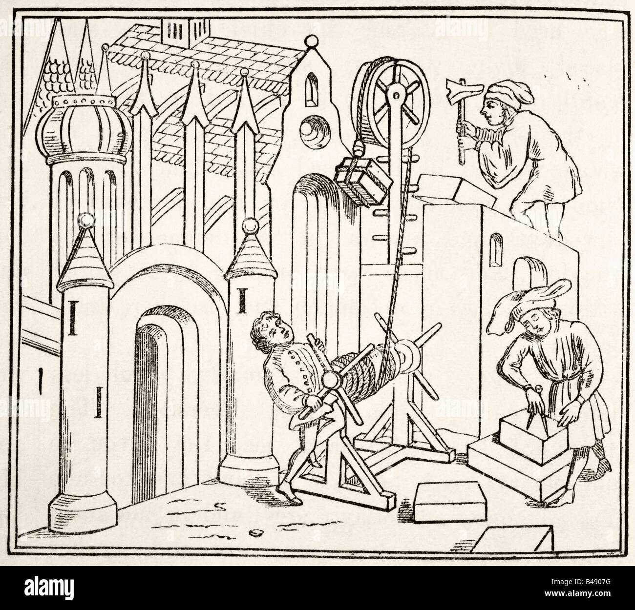 Builders at work in the 15th century. - Stock Image
