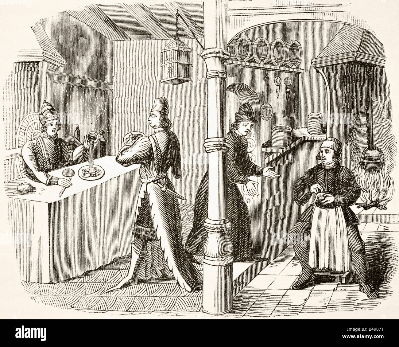 Typical fifteenth century dining room and kitchen - Stock Image