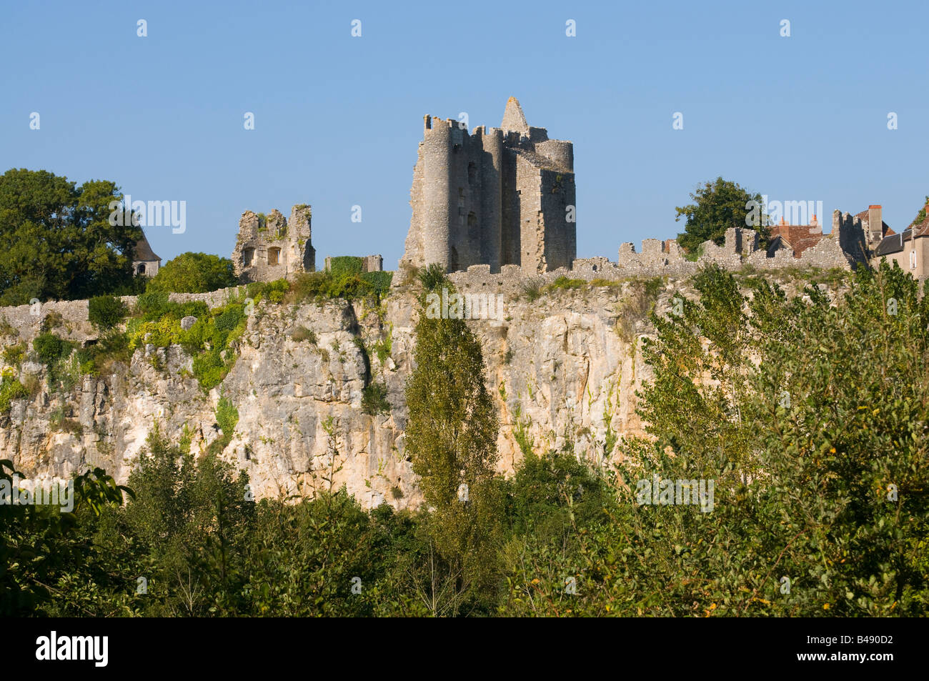 View of ruined chateau, Angles-sur-l'Anglin, Vienne, France. - Stock Image