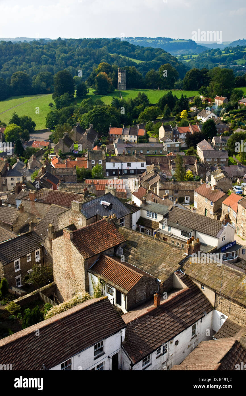 Richmond from the Castle Keep looking west to the Culloden Tower Richmond North Yorkshire - Stock Image