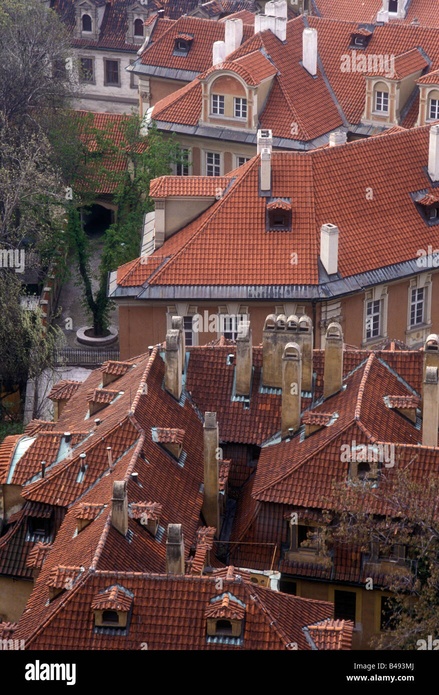high angle view of house ceilings in prague, czech republic Stock Photo