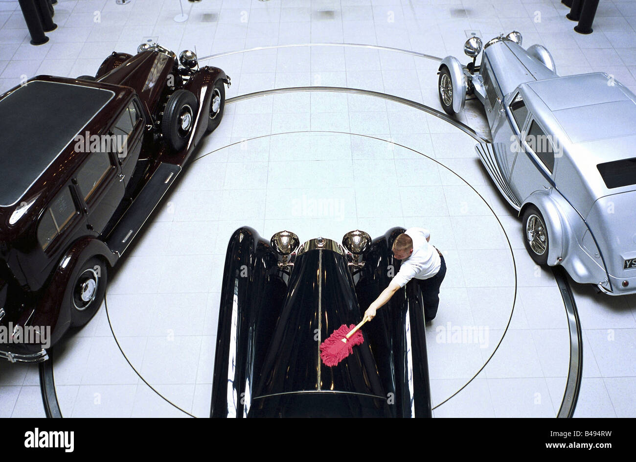 Bugatti Oldtimers at a car showroom, Berlin, Germany - Stock Image