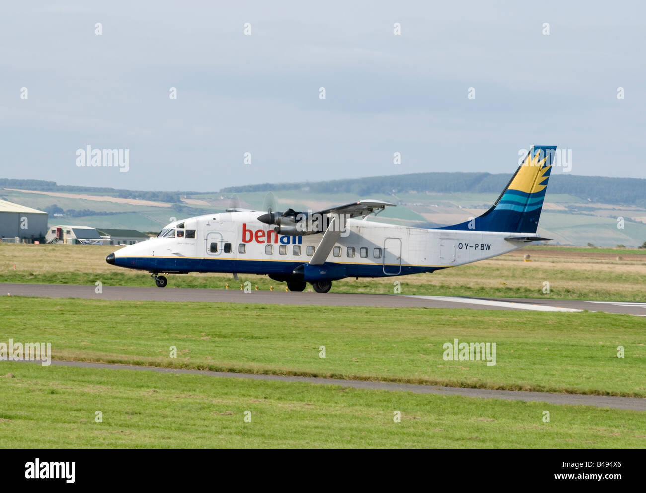 Short Twin Engine 360-300 Aircraft Arriving at Inverness Dalcross Airfield - Stock Image
