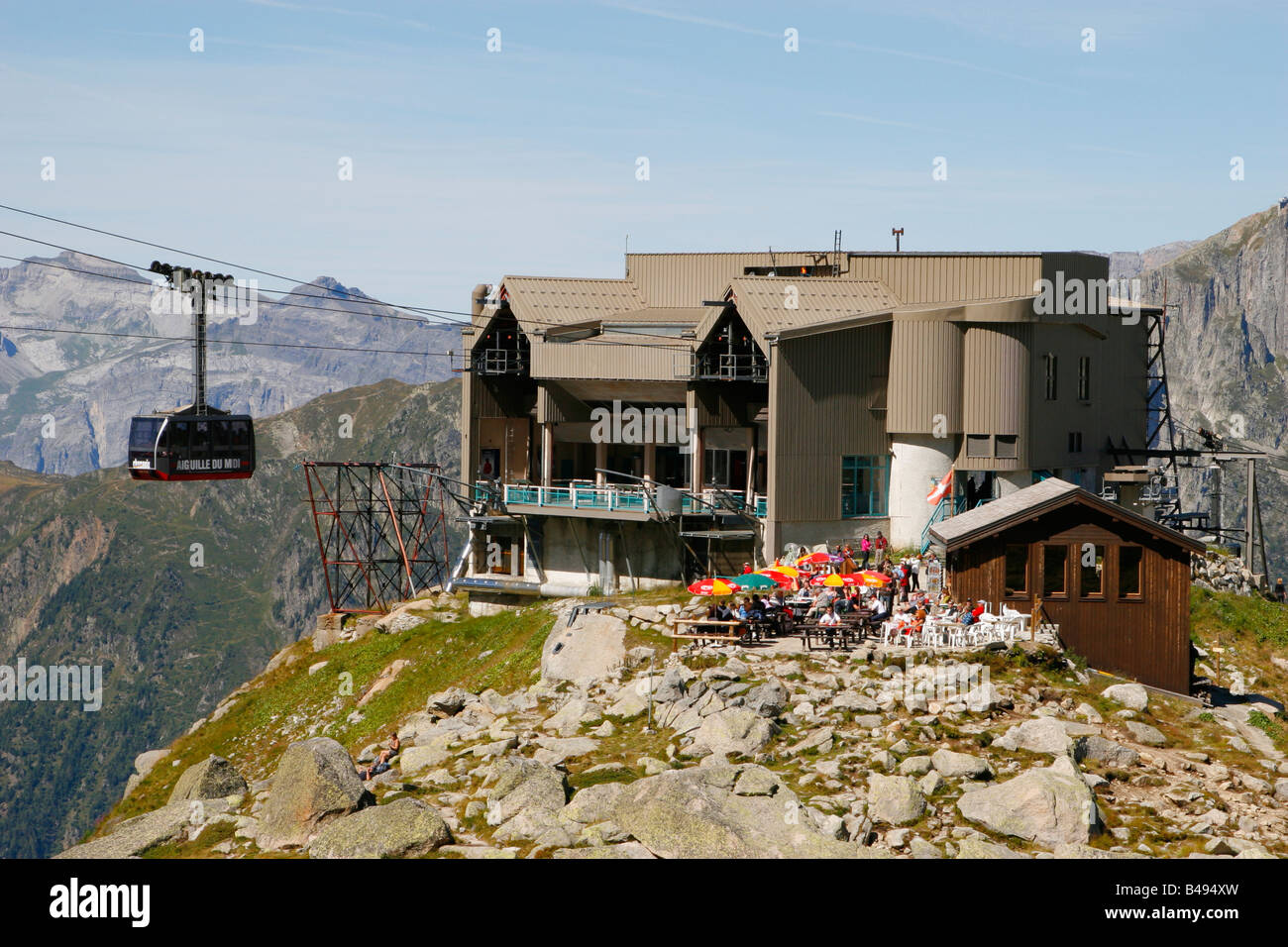 The Aiguille du Midi cable car station at the Plan de l'Aiguille, Chamonix, French Alps on a fine summer's - Stock Image