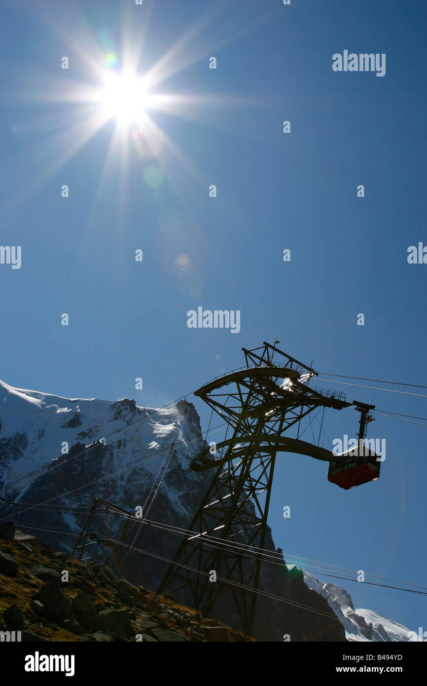 Study of the Aiguille du Midi cable car in Chamonix Mont-Blanc, French Alps. - Stock Image
