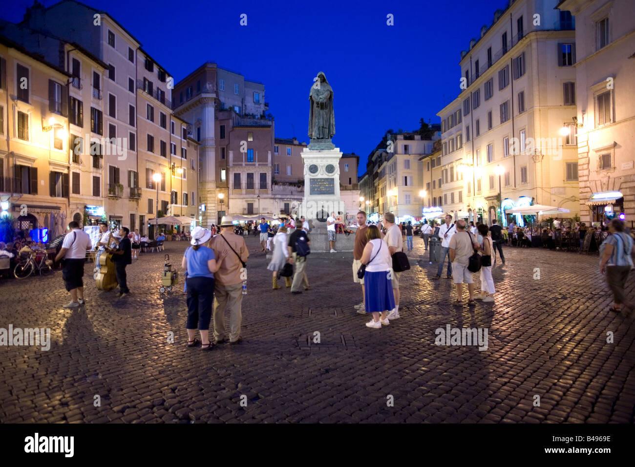 Campo dei Fiori at evening Roma Italy - Stock Image
