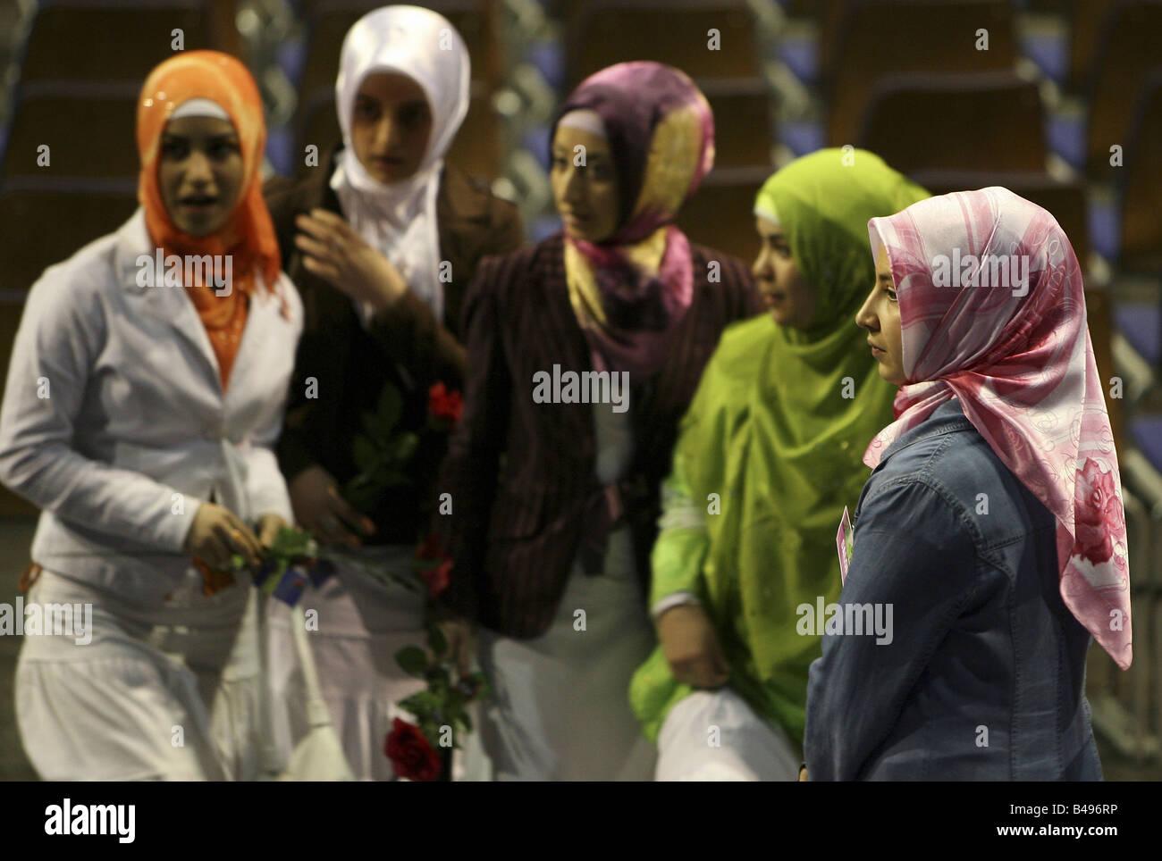 Muslim girls wearing hijabs, Berlin, Germany - Stock Image
