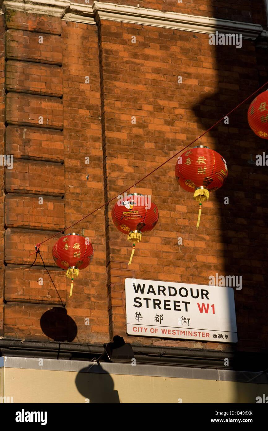 Wardour Street sign and chinese lanterns, Soho, London, UK - Stock Image