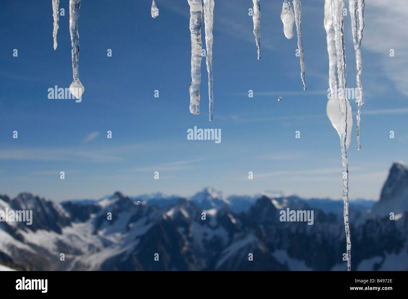 Study of icicles at the Aiguille du Midi cable car station, Chamonix, French Alps. - Stock Image
