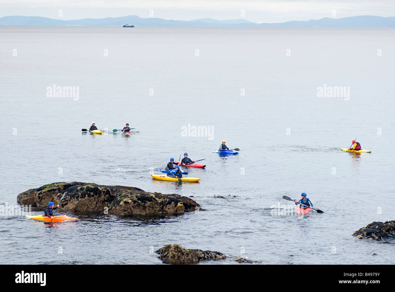Sea Kayaking at Hopeman in the Moray Firth North East Scotland UK.  SCO 0762. - Stock Image
