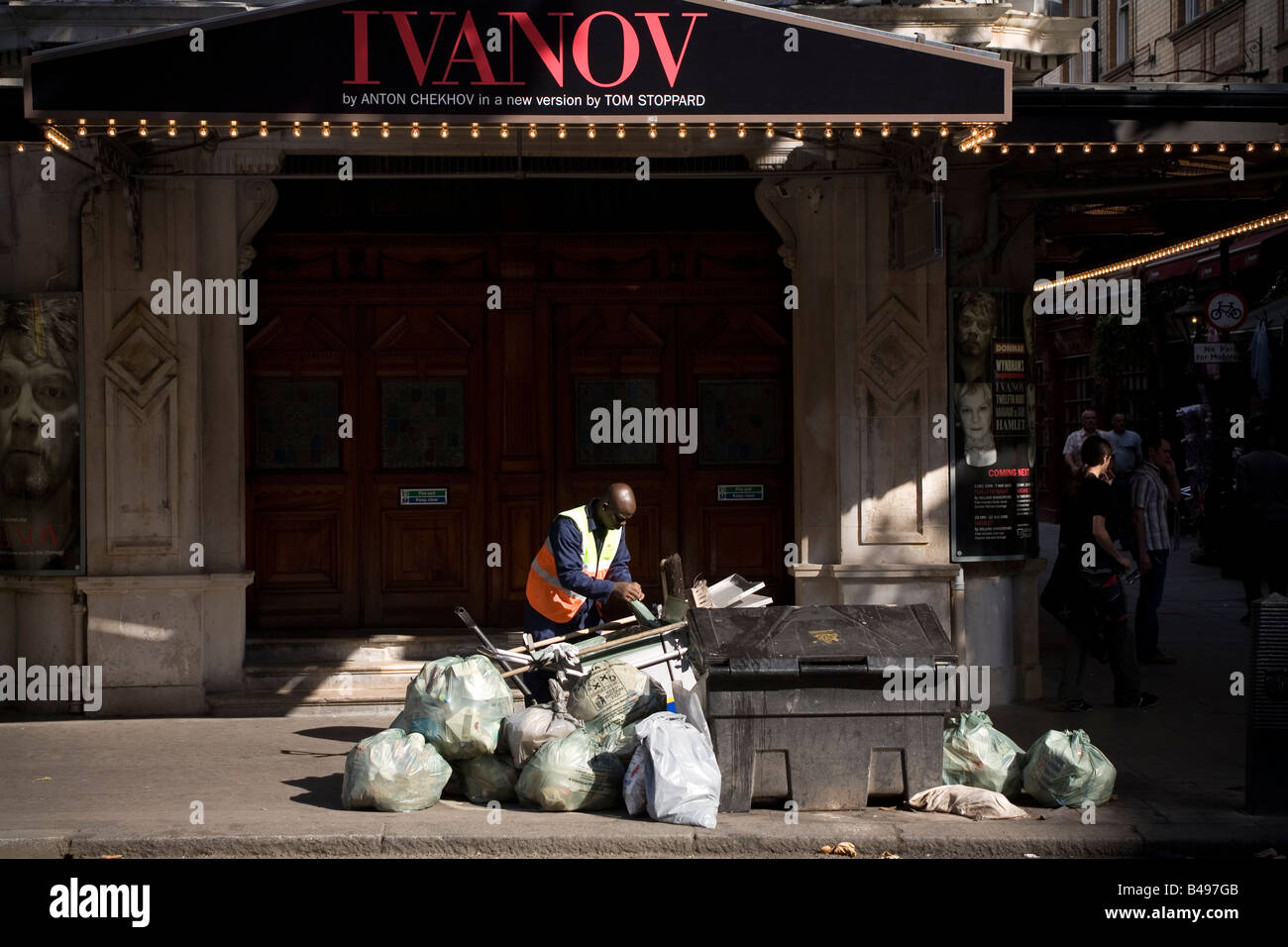 Bags of rubbish on the pavement Wyndham Theatre London West End England Britain UK - Stock Image