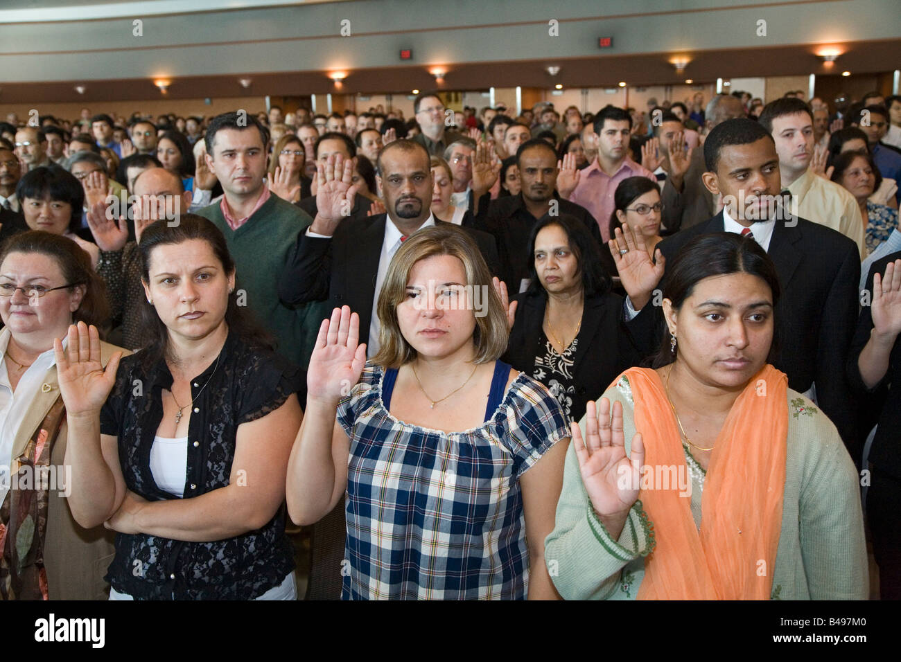 Detroit Michigan Immigrants to the United States are sworn in as new U S citizens - Stock Image