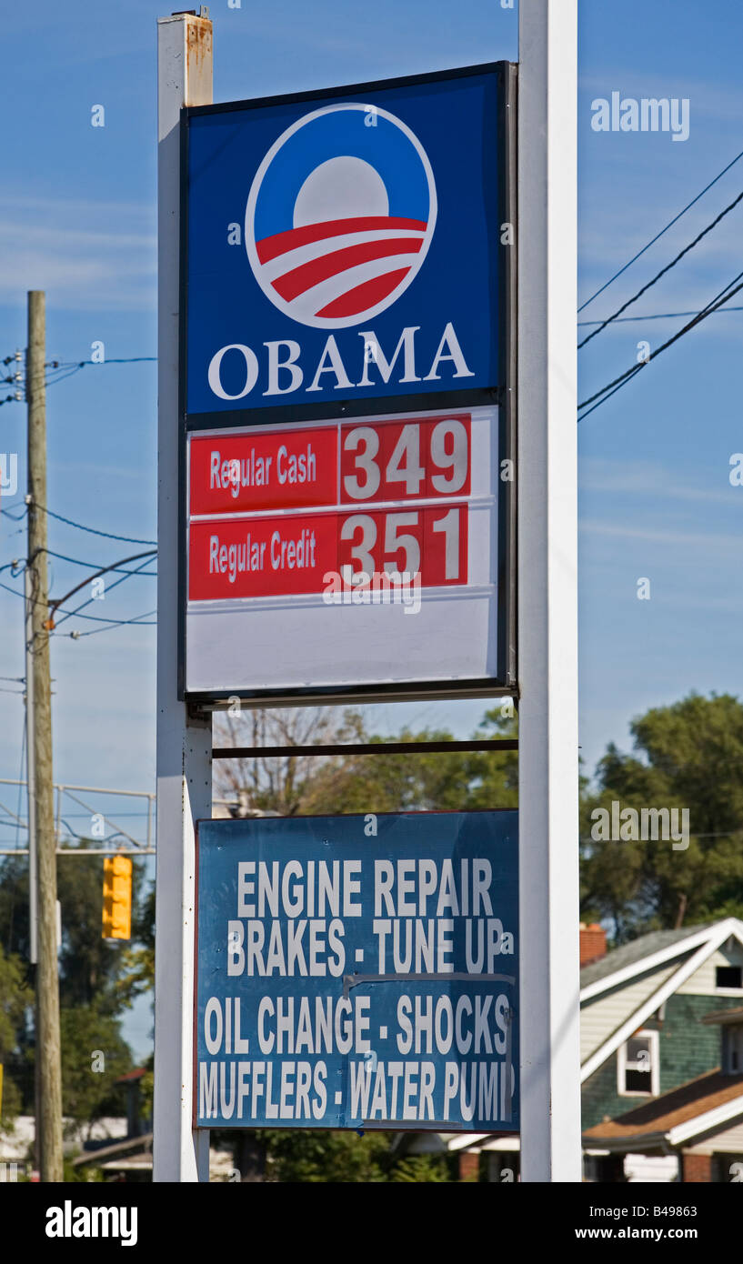 Obama Sign on Gasoline Station - Stock Image