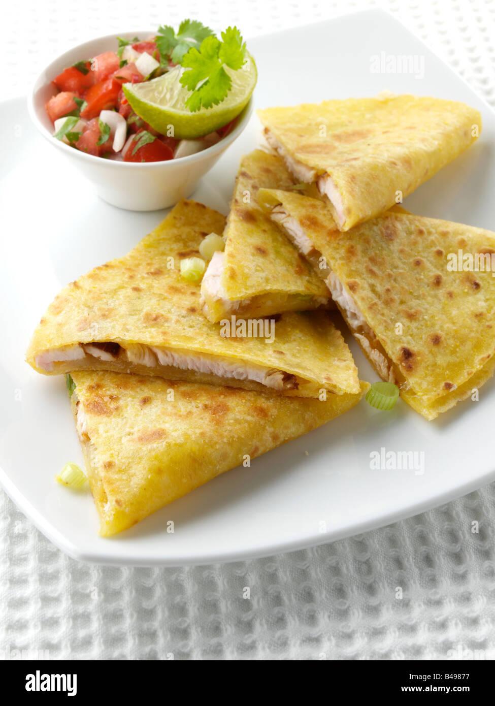 Chicken quesadillas editorial food - Stock Image