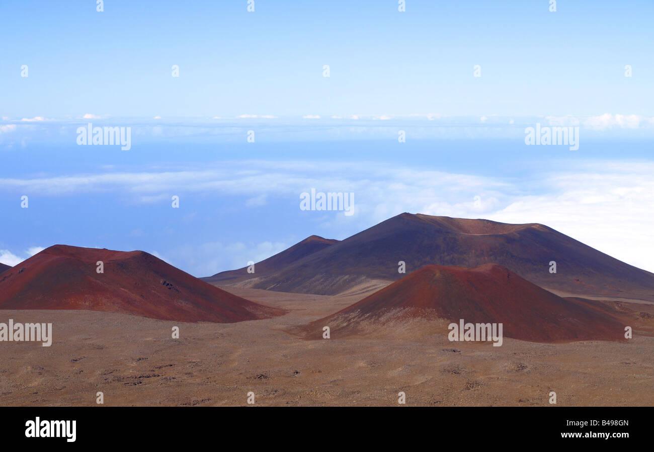 Cinder cones at the Mauna Kea summit - Stock Image