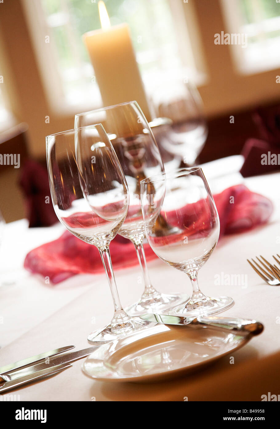 Table Setting With Empty Wine Glasses Stock Photo Alamy - Wine glass table setting