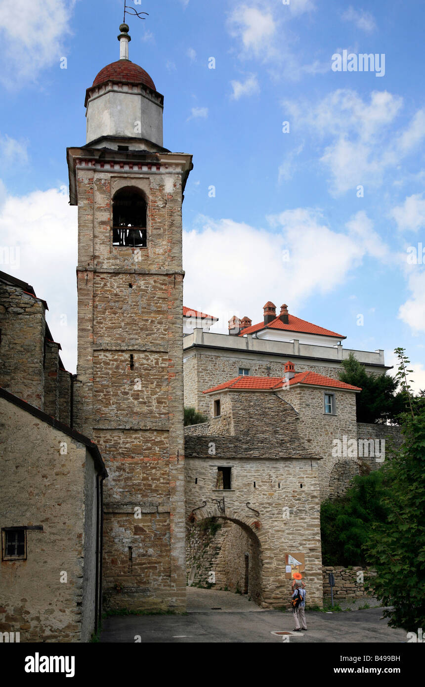 Medieval bell tower in Gorrino Langhe Valleys Piemonte Italy - Stock Image