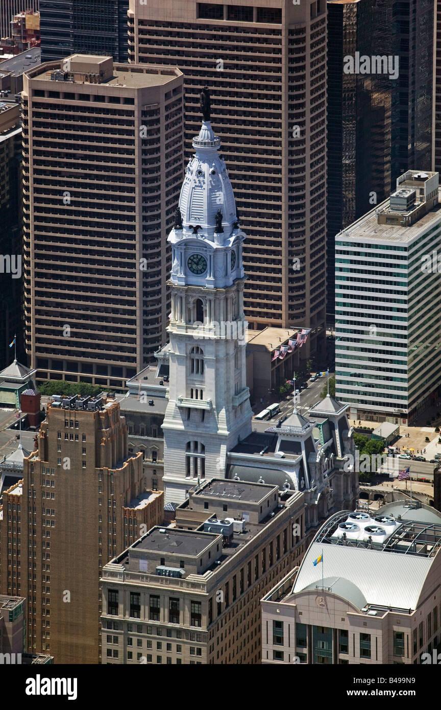 aerial above City Hall downtown Philadelphia Pennsylvania PA - Stock Image