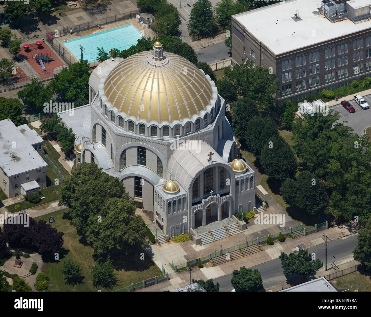 aerial above Ukrainian Catholic Cathedral of the Immaculate Conception Philadelphia, PA, Pennsylvania - Stock Image