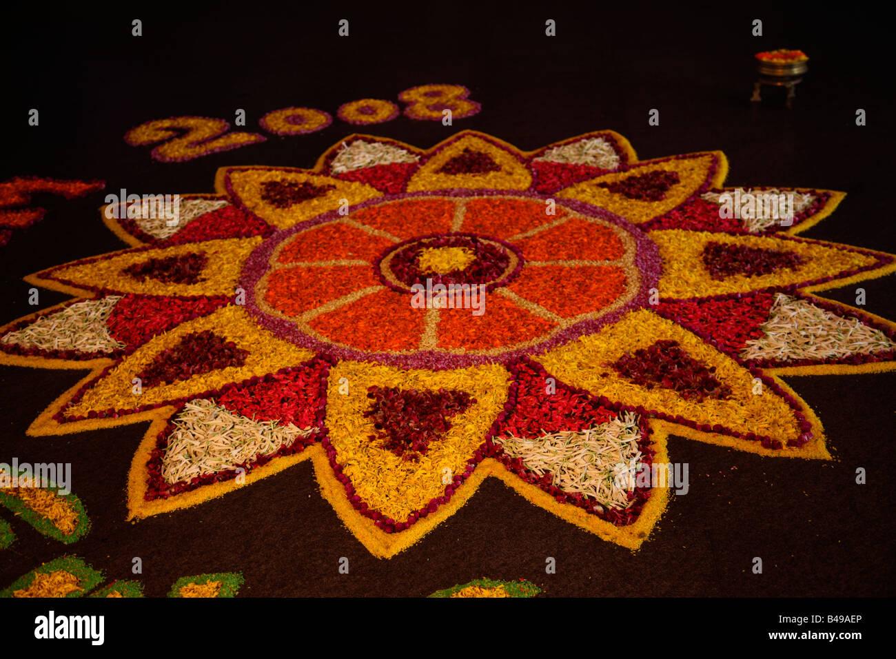 Floral design- made up of flower petals - Stock Image