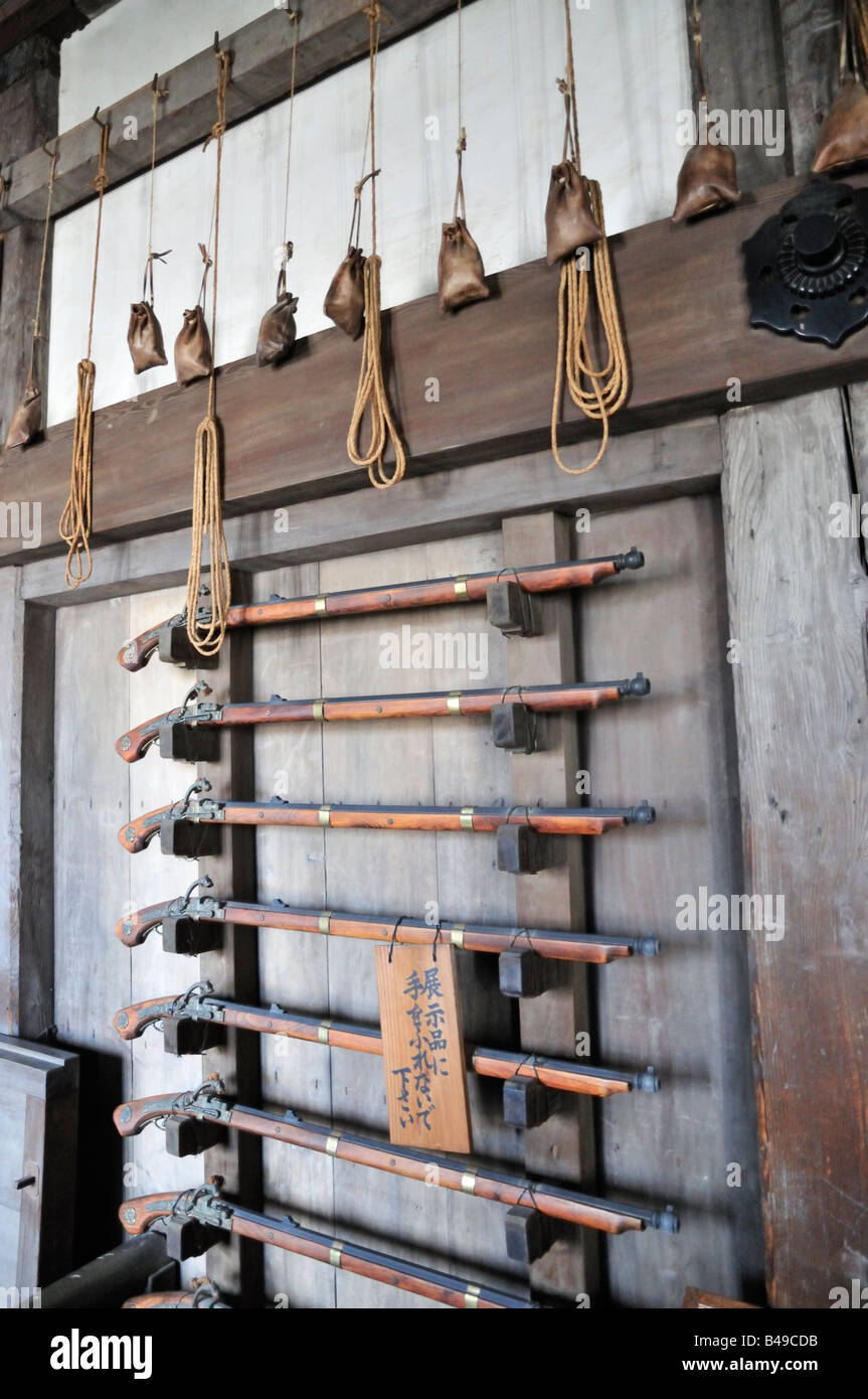 Japanese Weaponry on display at Himeji Castle, Japan - Stock Image